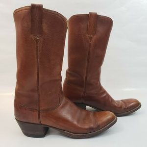 Lucchese Mens 10A Brown Leather Cowboy Boots